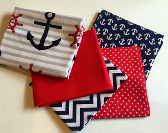 Fat Quarter set of 5 | Lets Sail away in Red, White, Navy & Gray | Anchors | Helm| Small Dots | Chevron | Ready to ship!