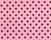 Michael Miller Dumb Dot Polka Dots Fabric Pencil Eraser Size Pink and Brown