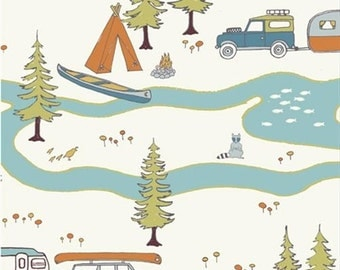 Birch Organic Cotton Fabric Camp Sur Trailer Camping in the Forest Woods Canoe