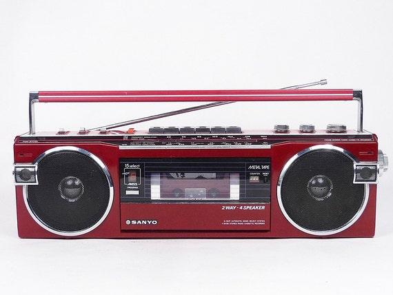 vintage 80 39 s sanyo m7770k boombox ghetto blaster cassette. Black Bedroom Furniture Sets. Home Design Ideas