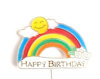 Retro Rainbow Happy Birthday Pick