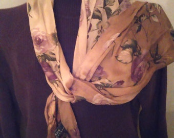 ON SALE Fall Ralph Lauren scarf tan and violet
