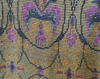 Antique French Steel cut beaded handbag purse 1920s Amazing micro beaded loomed purple pink Gold
