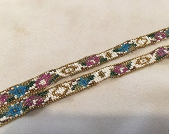 antique beaded ribbon  sash necklace handbeaded 1920s for repurpose or as is