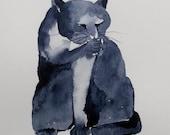 Cat PaintingWatercolor cat painting, cat art, cat print, watercolor painting, siamese cat painting, CAT, watercolor animals