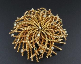 Gold Starburst Brooch, Sea Urchin Brooch, Rhinestone Brooch, Rhinestone Starburst Brooch, Wirework Brooch