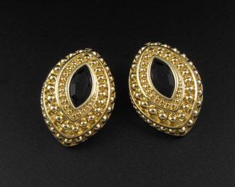 Swarovski Black Crystal Earrings, Gold Earrings, Swarovski Marquise Crystal Earrings, Black Earrings, Statement Earrings, Swarovski Earrings