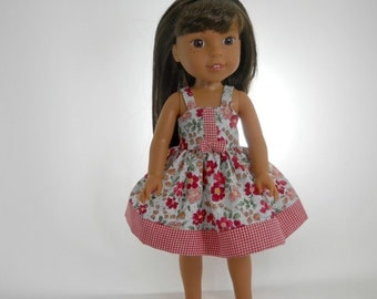 Made to fit 14.5 dolls such as Wellie Wisher, Mint Red Plaid Floral Dress, 07-1227