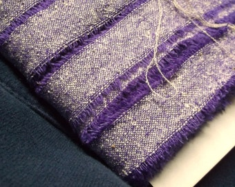 Hand Torn Vintage Purple Tweed Ribbon • 1/2 inch wide • 14 yards
