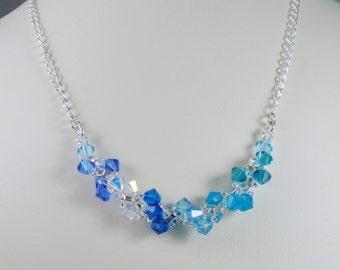 Swarovski Necklace Woven Blue Spiral Necklace Chain Necklace