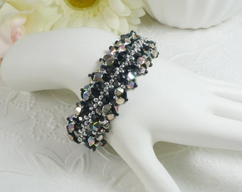 Woven Bracelet Black and Silver Pinch Beads