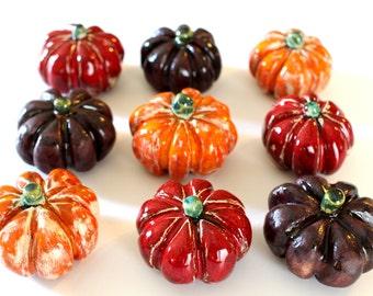 Ceramic pumpkin Halloween decorations Pumpkin decor (set of 3)  rustic thanksgiving