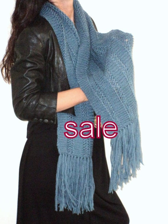 Sophisticated, BlueScarf, Handmade Scarf, Christmas Gift, Gift For Her, Women Scarf, Was 69, Now 55.90