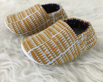 Mustard & Pale Blue Geometric Baby Bootie - Elastic Back - Made to Order