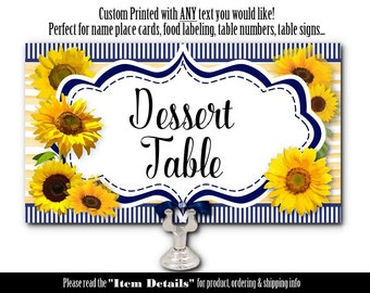 Personalized Table Cards, Place Cards, Food Label Cards, Table Numbers, Sunflowers, Navy & Yellow, Bridal or Baby Shower, Wedding, Birthday