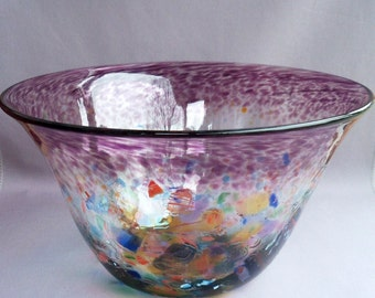 Hand Blown Art Glass Decorative,Fruit  Bowl,Purple and Multicolored