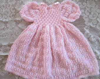 Knitted Baby Dress - Pink