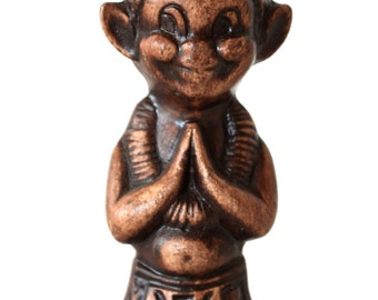 Vintage Menehune Tiki Elf Hawaiian Treasure Craft Figurine Kneeling
