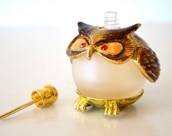Vintage Owl Perfume Bottle Enamel & Frosted Glass Figural Owl