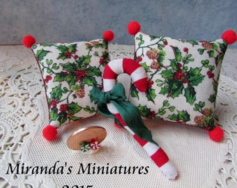 Dollhouse miniature Christmas Candy Cane BARBIE SIZE pillow set