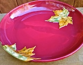 Large Serving Platter, Large Platter, Serving Platter, Maple Leaf, Pinnacle Sunset Glaze, Ready to Ship