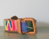Vintage  Guatemalan Embroidered  and Leather Belt  Small