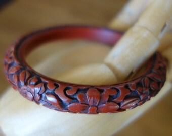 Carved Vintage Resin Cinnabar Bangle Bracelet