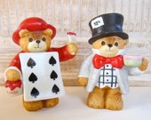 Lucy and Me by Enesco Fairy Tale Bears Mad Hatter and Playing Cards Alice in Wonderland Figurines