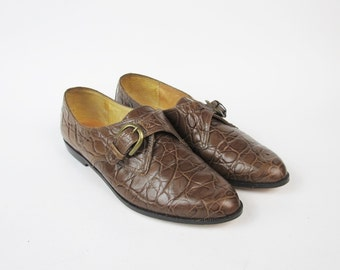 1980s Leather Oxfords Brown Leather Flats Slip On Buckle Flats Dress Shoes Croc Embossed Leather Flats Pointy Toe Brogues Size 5.5 E599