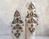 "Vintage Ecuador 900 silver 4"" long chandaleir earrings in Spanish Colonial Cuenca style, collector all silver filigree chandelier earring"