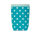 Ready To Ship, HEADREST Car Trash Bag Polka Dots Turquoise and White, Full-size with Oilcloth Lining