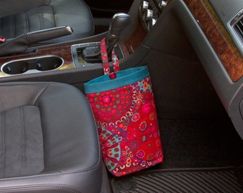 CAR TRASH Bag, Kaffe Fassett Millefiore RED, Women, Car Litter Bag, Auto Accessories, Auto Bag, Car Organizer, Craft Bag