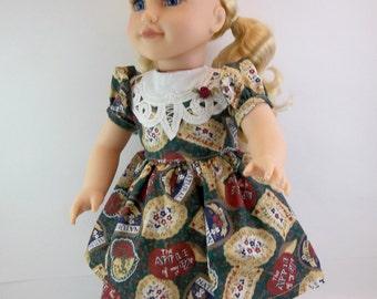 SALE  18 inch Doll Dress Fits American Girl Doll  Dark Green Country Dress Battenburg Lace Yoke Toys