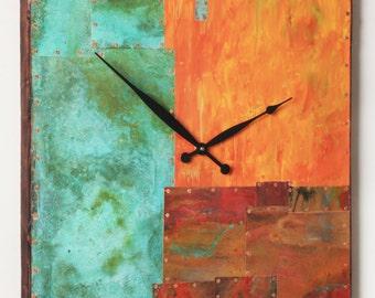 19 inch Square Copper and Metal Clock