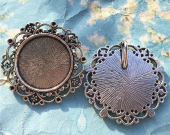 NEW COME 10 pcs 40mm antiqued silver Daisy flower cameo/cabochon base setting pendant blanks(fit 25mm cabochon)