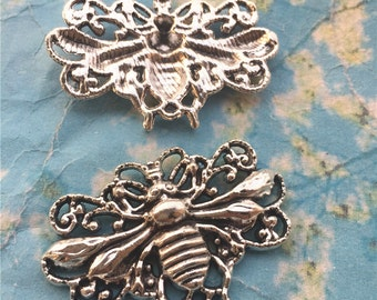 8pcs 50x30mm antiqued Silver large bee charms findings
