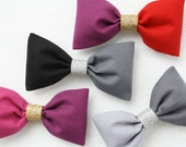Color Block Hair Bow with Gold Sparkle - Girls Fashion - Hair Clip - Hairclip - Stocking Stuffer