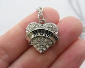 1 Rhinestone mom heart charm antique silver tone M549