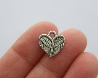 12 Angel wing heart charms antique silver tone AW177