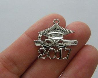 2 Graduation cap 2017 charms silver tone PT67