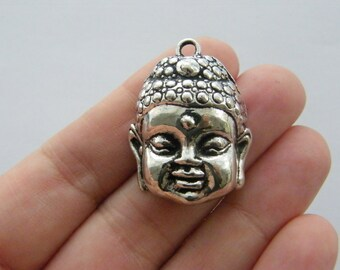 2 Buddha charms antique silver tone R53