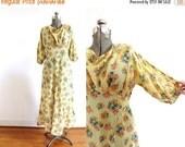 ON SALE 1930s Dress / 1930s Yellow Floral Bias Cut Dress