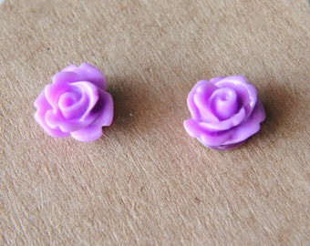 Rose Earrings,Stud Earrings 10mm purple