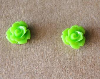 Rose Earrings, 10mm Green