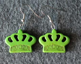 Crown Earrings Green,Boho Earrings
