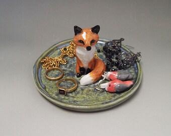 ceramic red fox trinket dish jewellery dish or ring minder figurine sculpture statue Anita Reay AnitaReayArt