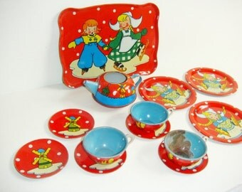 Gretchen Childrens Metal Tea Set - Ohio Art