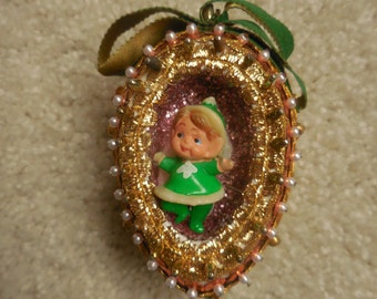 Beaded Egg Shaped Pin Ornament