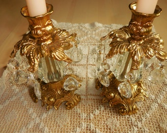 Vintage Ornate Metal and Prism Candle Holders