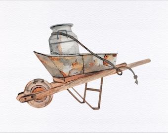 Antique Wheelbarrow Unframed Watercolor Art Print